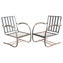 Art Deco Metal Wrought Iron Green Patio Garden Bouncer Lounge Chairs, a Pair
