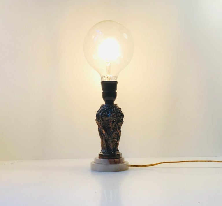 Mid-20th Century Art Deco Metallurgy Table Lamp from Curt Schlevogt, 1930s For Sale
