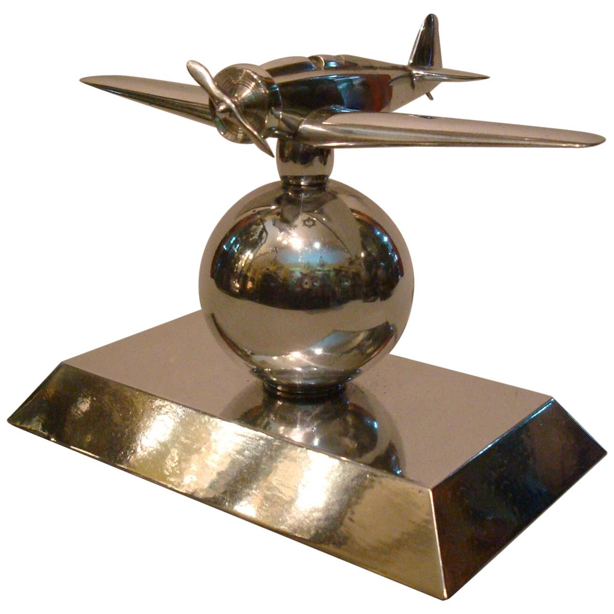 Art Deco Mid-20 Century Airplane Fighter over the World Paperweight, 1930s