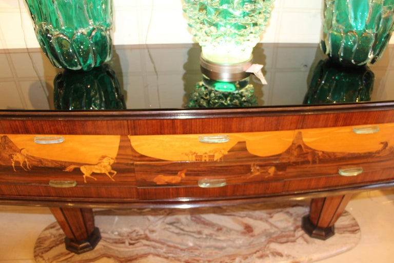 Art Deco Midcentury Italian Sideboard with Inlay by Vittorio Dassi, Credenza For Sale 4