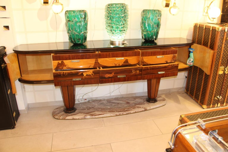 Art Deco Midcentury Italian Sideboard with Inlay by Vittorio Dassi, Credenza For Sale 7