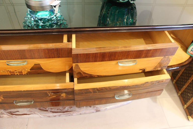 Art Deco Midcentury Italian Sideboard with Inlay by Vittorio Dassi, Credenza For Sale 10