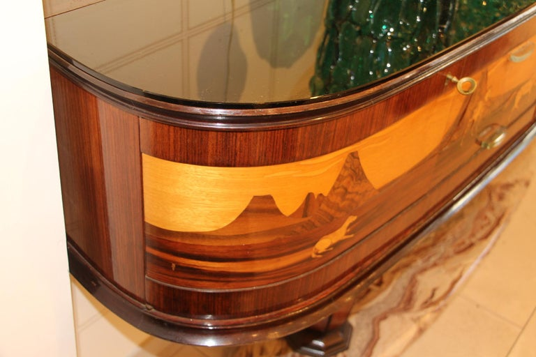 Art Deco Midcentury Italian Sideboard with Inlay by Vittorio Dassi, Credenza For Sale 12