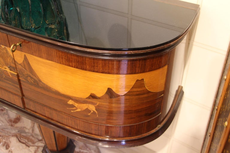 Art Deco Midcentury Italian Sideboard with Inlay by Vittorio Dassi, Credenza For Sale 13