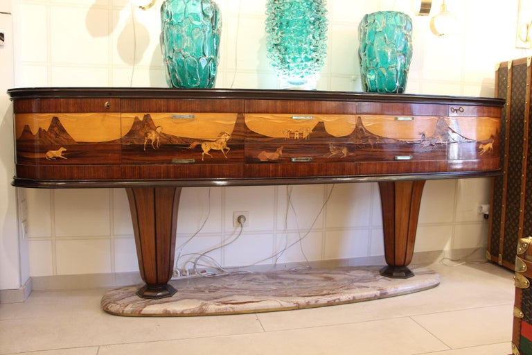 Spectacular and very rare sideboard created by Vittorio Dassi in the 1940s.