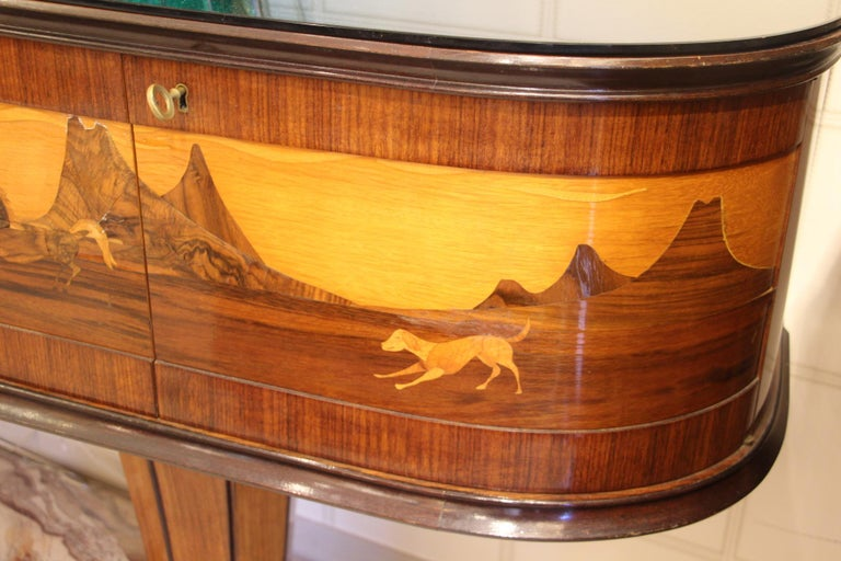 Art Deco Midcentury Italian Sideboard with Inlay by Vittorio Dassi, Credenza For Sale 2