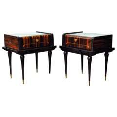 Art Deco Midcentury Macassar Bedside Tables Nightstands, 1948