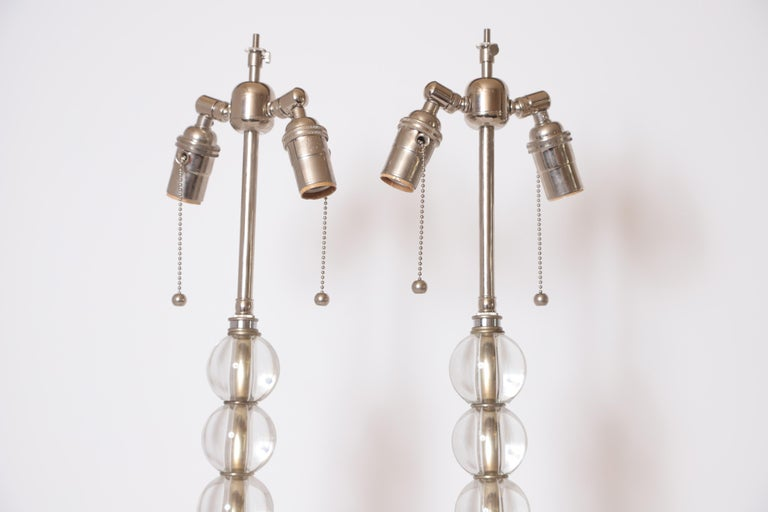Art Deco Mid Century Pair of Crystal Ball Table Lamps For Sale 5