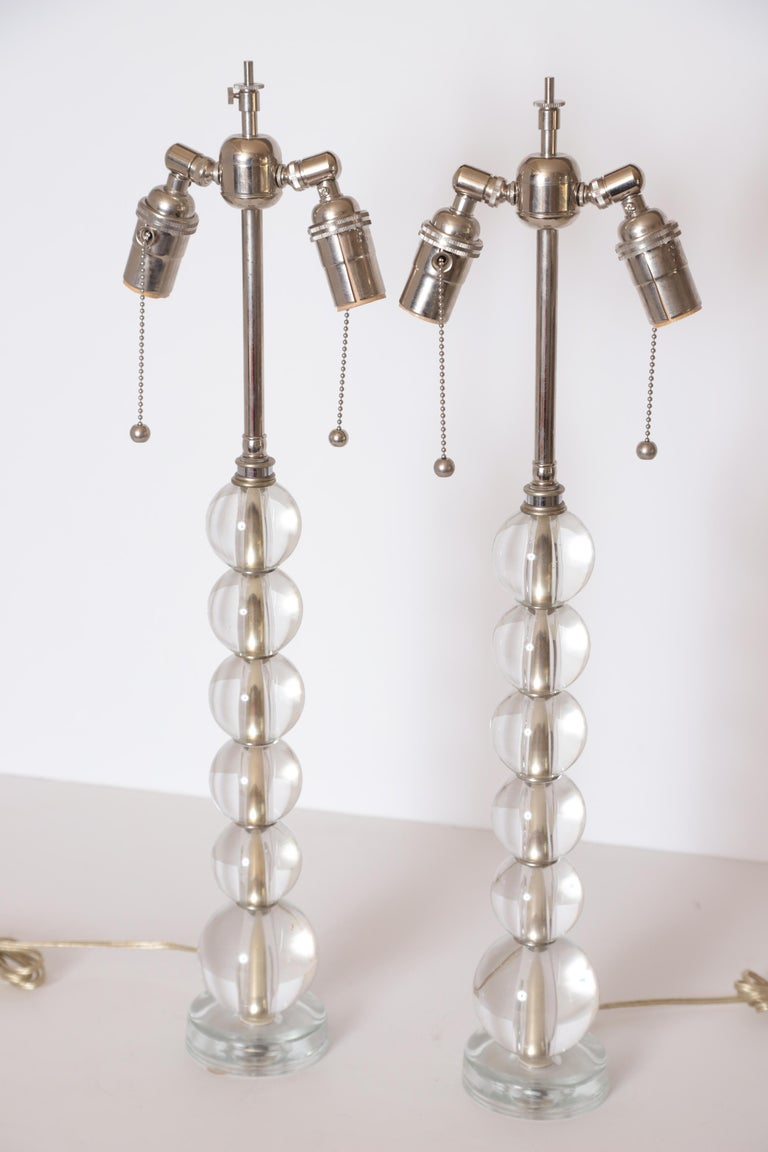 Art Deco Mid Century Pair of Crystal Ball Table Lamps For Sale 6