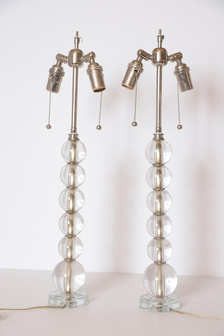 Art Deco Mid Century Pair of Crystal Ball Table Lamps For Sale 3