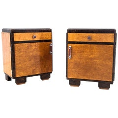 Art Deco Midcentury Bedside Tables, Poland, 1950s