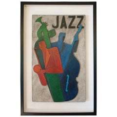 Art Deco, Midcentury, Carved Painted Jazz Club Sign, 1930s