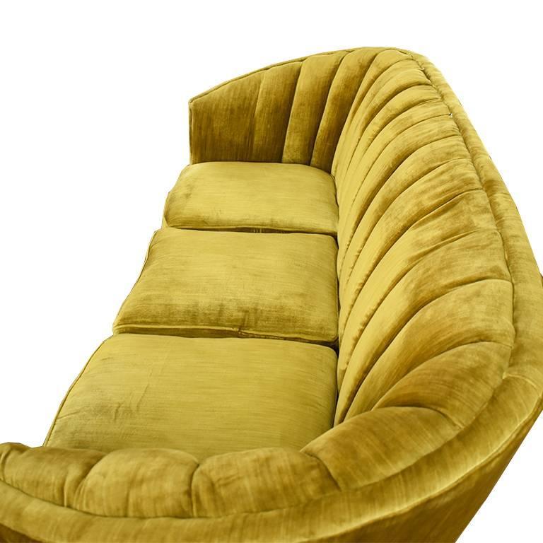 Art Deco Midcentury Green Velvet Banana Form Channel Back