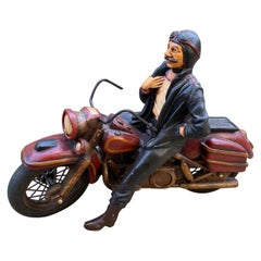 Art Deco Midcentury Hand Carved Wood Toy Race Motorcycle Model Folk Art Dealer
