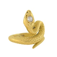 Art Deco Mine Cut Diamond Gold Snake Ring