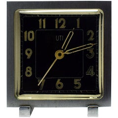 Art Deco Miniature Alarm Clock by UTI Paris, France