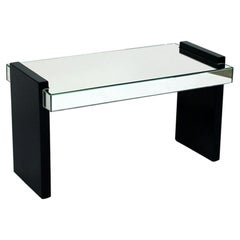 Art Deco Mirror and Black Lacquer Table by Jaques Adnet