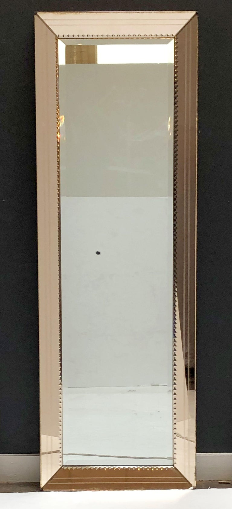 Art Deco Mirror With Beveled Frame Of Copper Colored Glass