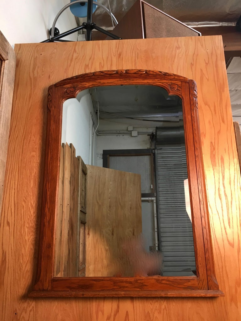 Art Deco Mirror with Carved Foliage For Sale 6
