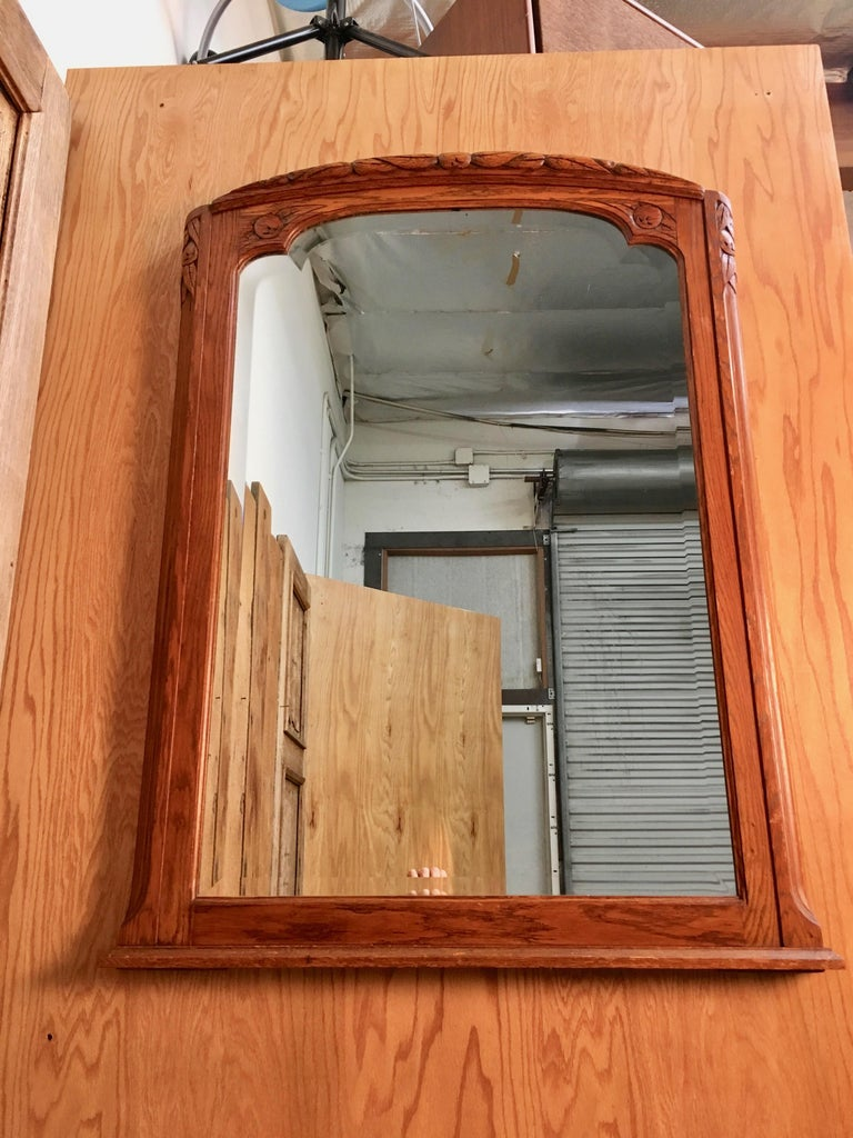 Art Deco Mirror with Carved Foliage For Sale 8
