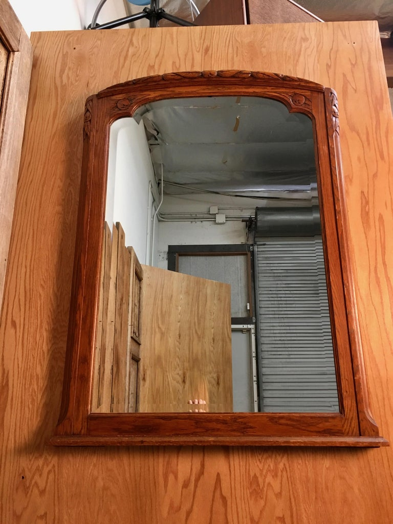 Art Deco Mirror with Carved Foliage For Sale 2