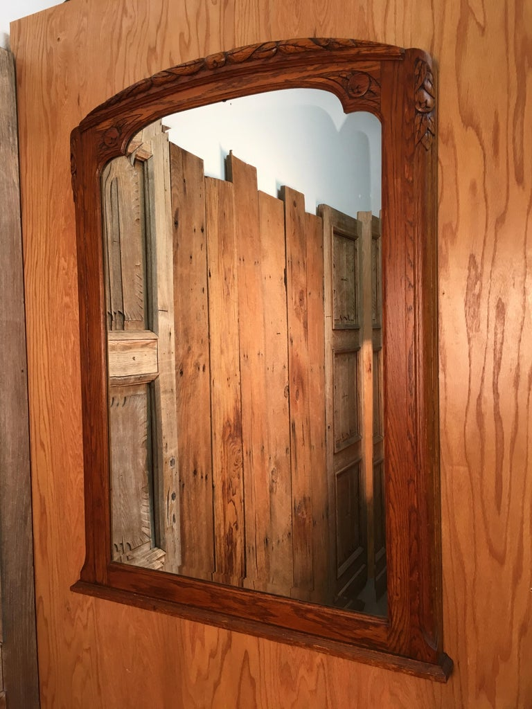 Art Deco Mirror with Carved Foliage For Sale 4