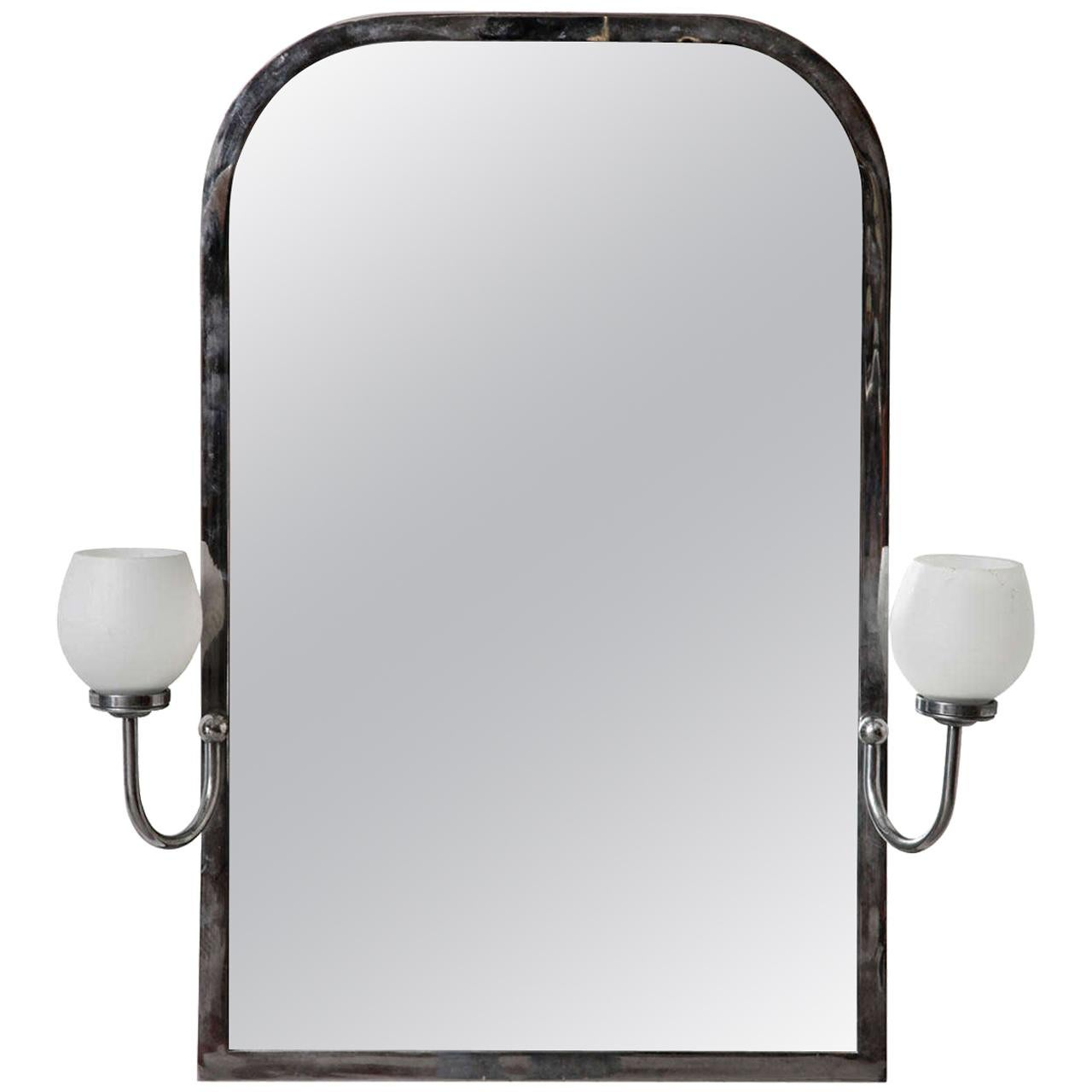Art Deco Mirror with Opal Light
