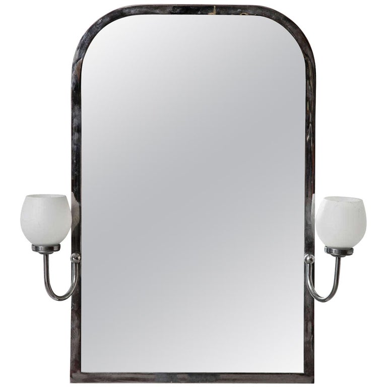 Art Deco Mirror with Opal Light For Sale