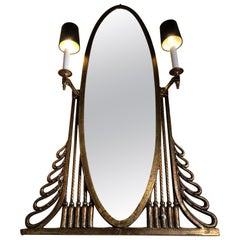 Art Deco Mirror with Sconces, by Oscar Bach, Large Heavy Bronze Art Deco Mirror