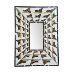 Art Deco Mirror with Tessellated Marble Surround Creating Optical Perspective