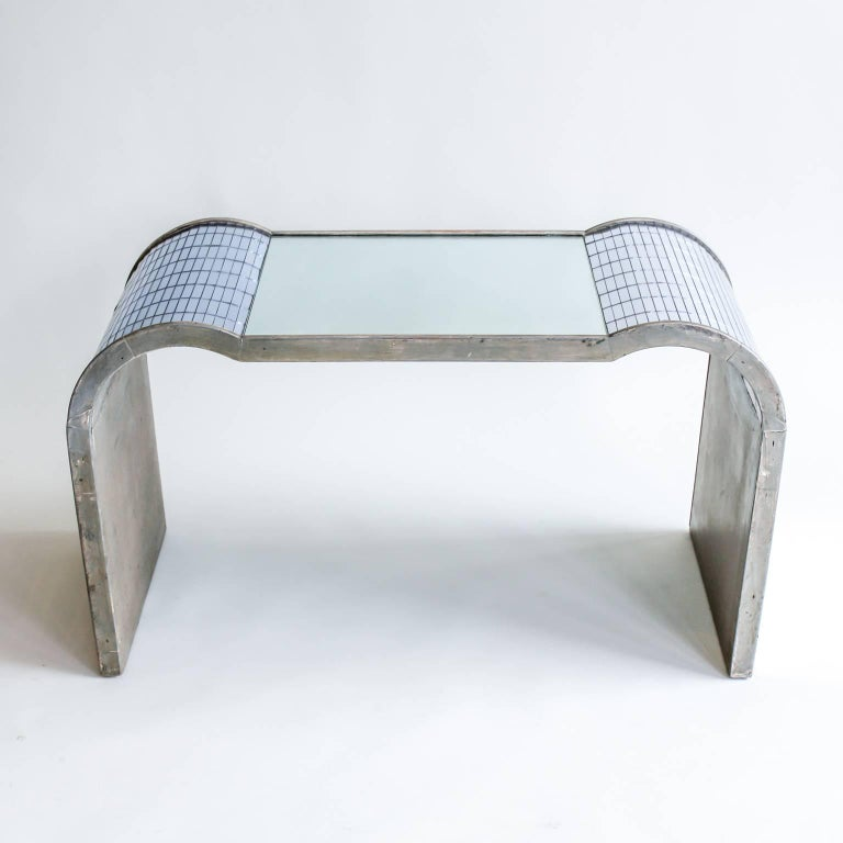 large Art Deco 1930s-1940s mirrored and silvered wood side table, possibly Rowley.