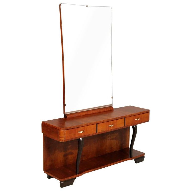 Art Deco Mirrored Dressing Table or Vanity by Gaetano Borsani Polished to Wax