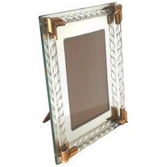 Art Deco Mirrored Picture Frame with Murano Glass Rope, 1940s
