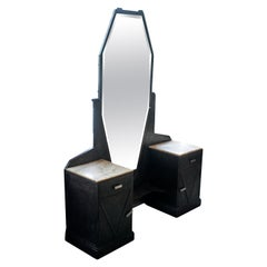 Art Deco Mirrored Vanity with Cabinet in Hammered Steel and Onyx, 1930s