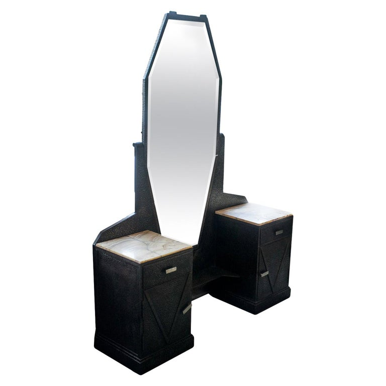 Art Deco Mirrored Vanity with Cabinet in Hammered Steel and Onyx, 1930s For Sale