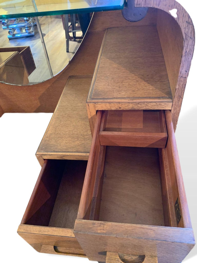 Teak Art Deco Mirrored Vanity with Drawers by English Company EG Furniture, 1940s For Sale
