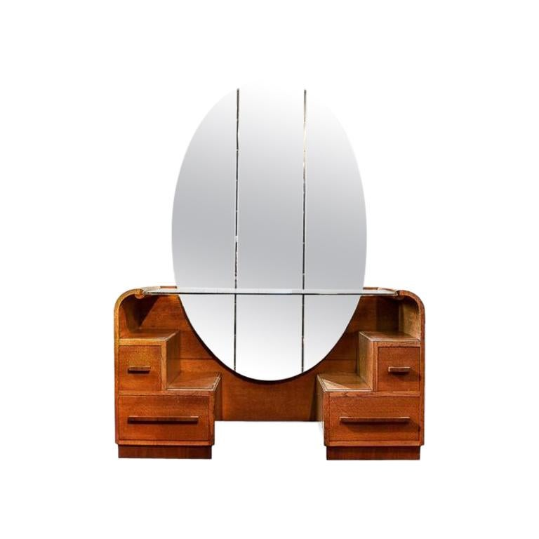 Art Deco Mirrored Vanity with Drawers by English Company EG Furniture, 1940s For Sale