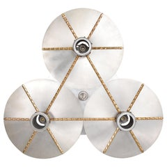 Art Deco Modern Bronze Trinity 3-Light Cluster Ceiling Lamp Chandelier, 1960s