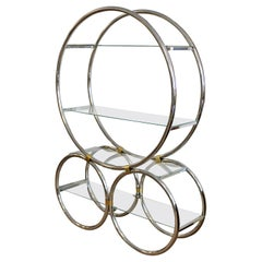 Art Deco Modern Chrome Glass and Brass Circular Shelving Unit Étagère