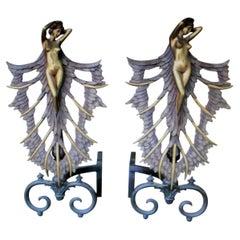 Art Deco/Modern Female Andirons, Bronze