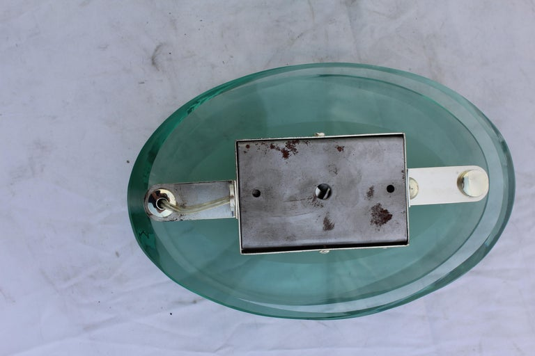 North American Art Deco Modern Glass Wall Sconces, Silver Plated Brass, After Fontana Arte' For Sale