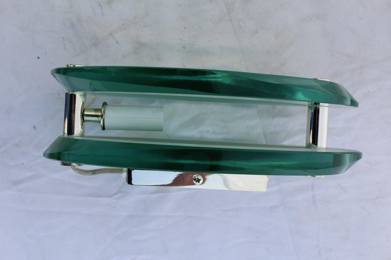 Beveled Art Deco Modern Glass Wall Sconces, Silver Plated Brass, After Fontana Arte' For Sale
