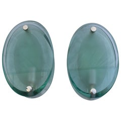 Art Deco Modern Glass Wall Sconces, Silver Plated Brass, After Fontana Arte'