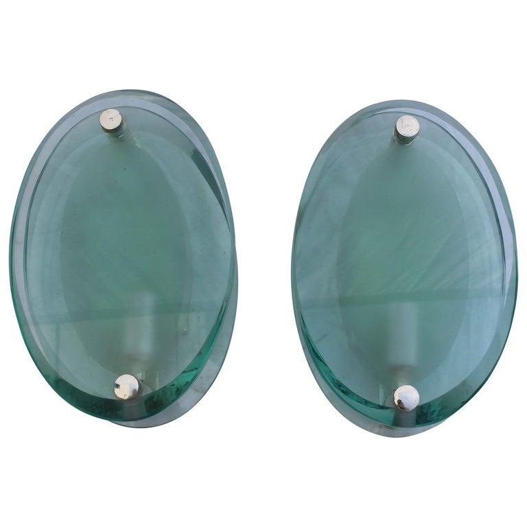 Art Deco Modern Glass Wall Sconces, Silver Plated Brass, After Fontana Arte' For Sale