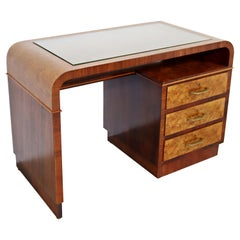 Art Deco Modern Italian Curved Rosewood & Elm Writing Desk Glass Topped, 1930s