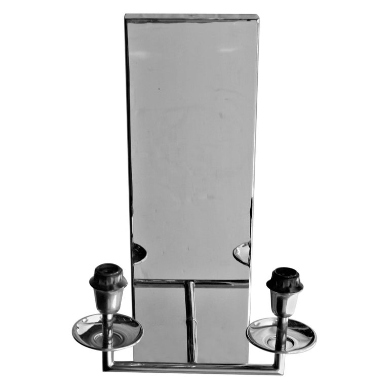 Art Deco/Modern Sconce '1' Hi Polished Nickel Finish Two Light Zia Priven For Sale