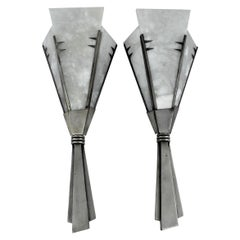Art Deco/ Modern, Sconces, Alabaster, Antique Silver, Finish after Dominic