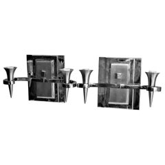 Art Deco/Modern Sconces Hi-Polished Two-Tone Nickel Finish Two Light Cast