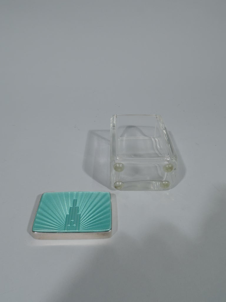 Art Deco Modern Sterling Silver and Enamel Skyscraper Vanity Jar In Excellent Condition For Sale In New York, NY