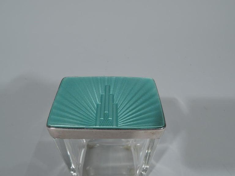 Women's Art Deco Modern Sterling Silver and Enamel Skyscraper Vanity Jar For Sale